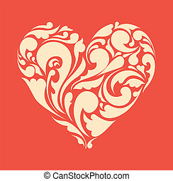 heart., ポスター, 抽象的, レトロ, 花, 愛, concept.