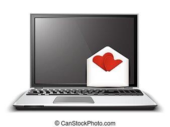 heart., ラップトップ, 愛, 形, 手紙