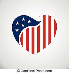 heart., 中, 旗, アメリカ人, ベクトル, ロゴ