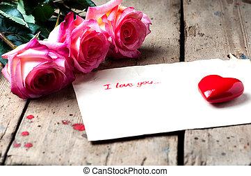 "heart., 木製である, バラ, ""i, background.ceramic, you"", メモ, テキスト,..."