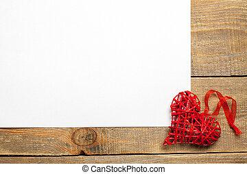 heart., 木製である, ペーパー, 背景, 白紙
