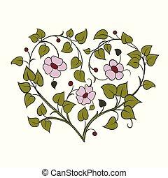 heart., 木, 要素, 形, デザイン, ブランチ