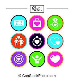heart., 目标, 爱, icons., valentine, 天