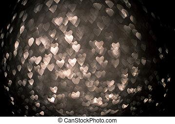 heart., 銀, 形, bokeh, 背景