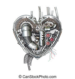 A technically mechanical heart at hard work, 3D illustration