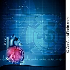 Heart abstract blue background
