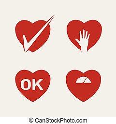 Heart abstract icon vector set