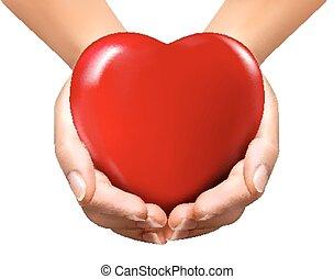heart., achtergrond, valentijn, vector, holdingshanden, vakantie, rood