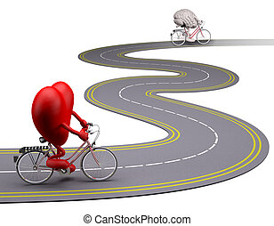 heart an brain with arms and legs on bicycle on the road