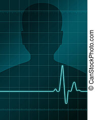 Heart analysis - a man in background with a heart analysis...