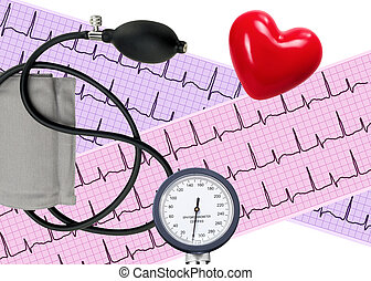 Heart analysis, electrocardiogram graph and blood pressure meter