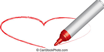 Heart and a red felt-tip pen - Heart and a red felt-tip pen...