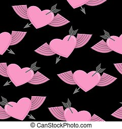 Heart and arrow symbol of love. Winged heart seamless pattern. Background for Valentine's day. Heart with Angel Wings on a black background. Vector illustration