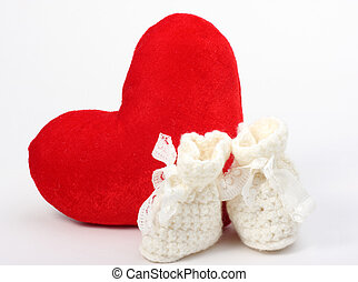 heart and baby's bootee