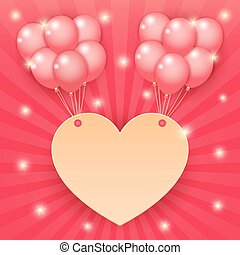 heart and balloon on starburst background