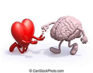 heart and brain love alms, 3d illustration
