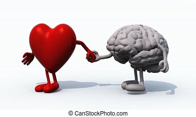 heart and brain That walk hand in hand, 3d animation loop