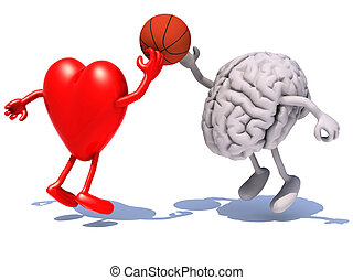 heart and brain with arms and legs playing to a basket ball,...