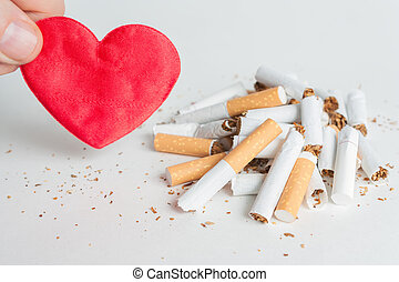 Heart and broken cigarettes. Quit smoking