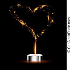 heart and candle - black background and a small burning...
