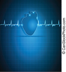 Heart and cardiogram - Blue medical background with heart....
