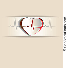 Heart and cardiogram - Vintage Heart, cardiogram concept....