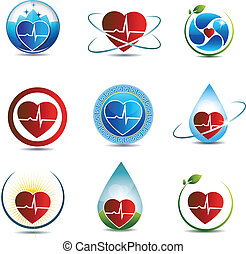 Heart and cardiogram - Human heart symbol collection. Health...