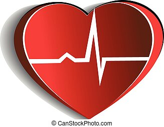 Heart and cardiogram. Paper looking design. Heart connected ...