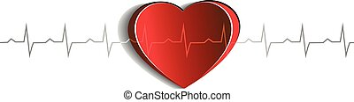 Heart and cardiogram. Paper looking design. Heart connected with heart rate monitoring line. Isolated on a white background.