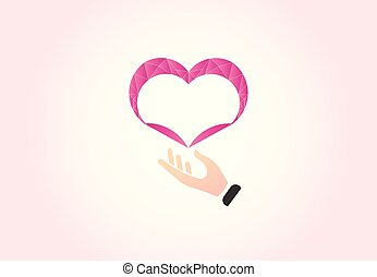 Heart and caring hand, charity vector logo