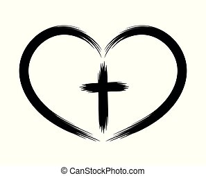 Heart and Christian cross. The concept of symbolism. Painted by brush. Vector icon. The object is isolated on a white background.