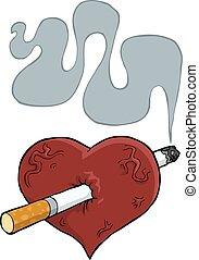 Heart and cigarette