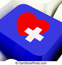 Heart And Cross Computer Key In Blue Showing Emergency Assistanc