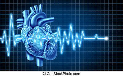 Heart and EKG ECG Graph - EKG Graph with electrocardiogram...