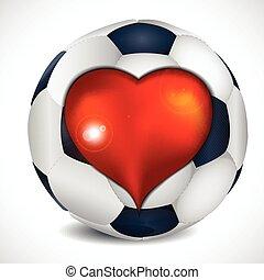 Heart and football ball.