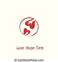 Heart and hands. Love, Hope, Care Logo.