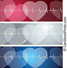 Heart and heart beats - Medical banners, various colors,...