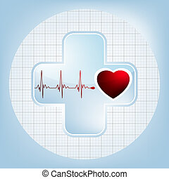 Heart and heartbeat symbol. EPS 8 - Heart and heartbeat...