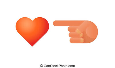 Heart and index finger. Animation social networks. Alpha...