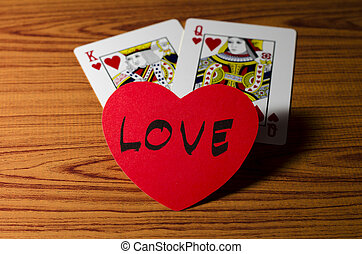 Love King Queen Card Love King Qeen Card On Wood Background