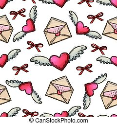 Heart and love lette seamless pattern - Seamless pattern of...