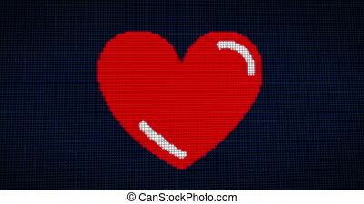 Heart and love pixel style - Pixel heart shape in retro...