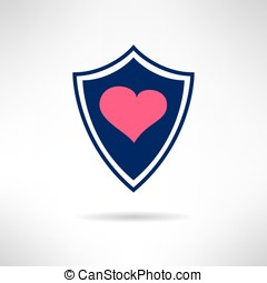 Heart and love shield icon. Health defence. Vector