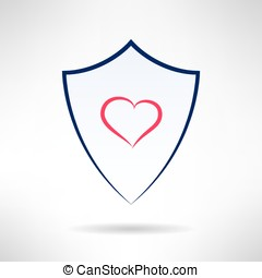 Heart and love simple shield icon. Vector - Heart and love...