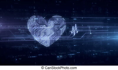 Heart and love symbol blue hologram - Cybernetic heart...