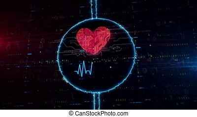 Heart and love symbol hologram in electric circle -...