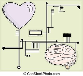 Heart and Mind Circuits - Cartoon heart and brain connected...