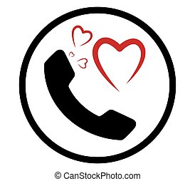 Heart and Phone Icon
