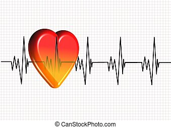 Heart and pulse - 3d colorful heart on a cardiogram chart