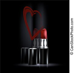 heart and red lipstick